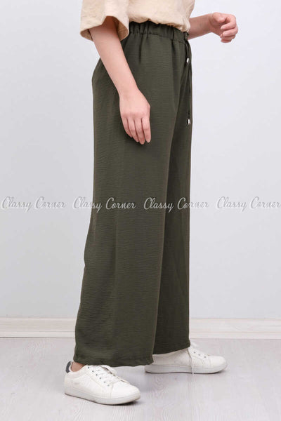 Elastic Waist Green Modest Comfy Pants - left side view