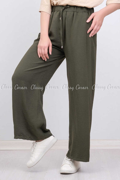 Elastic Waist Green Modest Comfy Pants - right side view