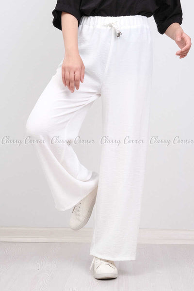 Elastic Waist White Modest Comfy Pants - front view