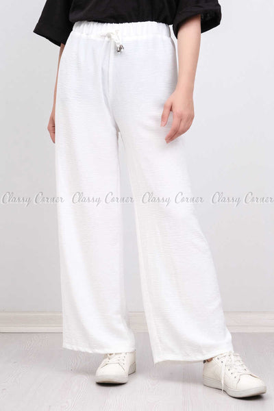 Elastic Waist White Modest Comfy Pants - full front view