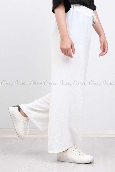 Elastic Waist White Modest Comfy Pants - side view