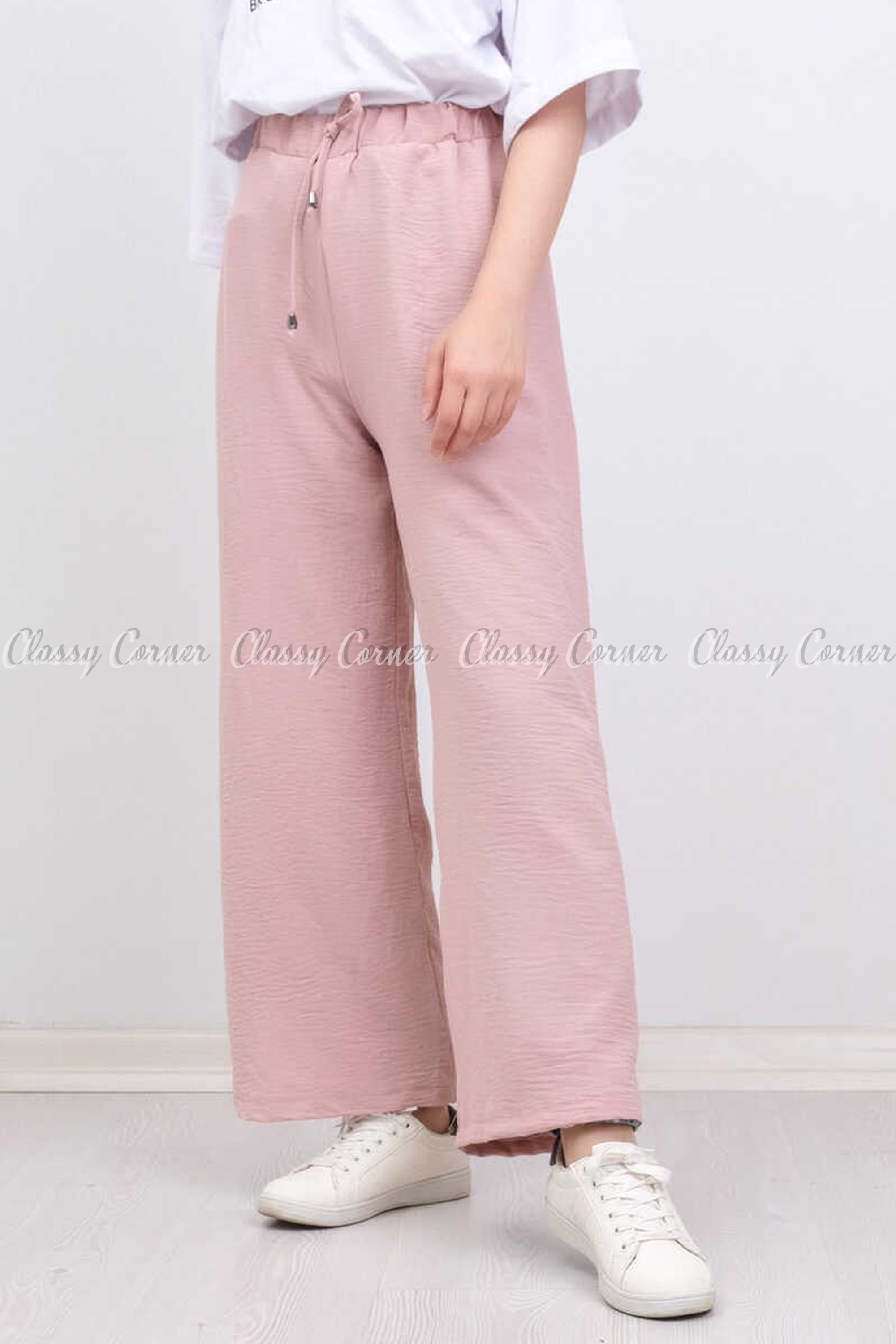 Elastic Waist Powder Pink Modest Comfy Pants