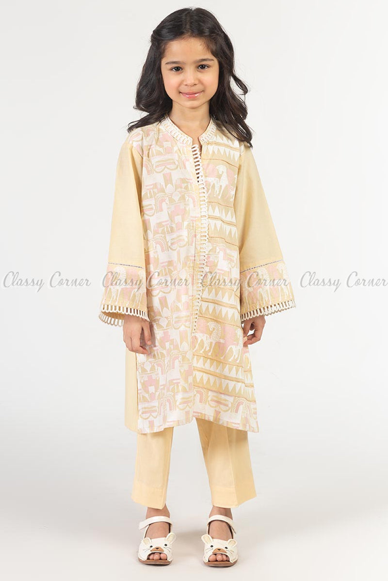 Horse Abstract Print Beige Kids Salwar Kameez