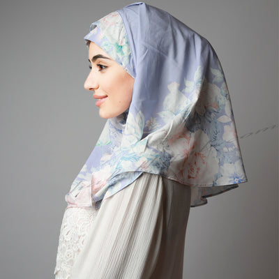 Light Blue Coral Floral Print Elegant Two Piece Instant Hijab