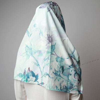 Light Dusty Blue Purple Floral Printed Luxurious Instant Hijab