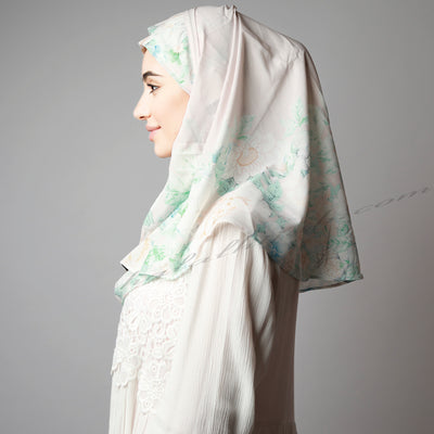 Light Green Floral Print Elegant Two Piece Instant Hijab