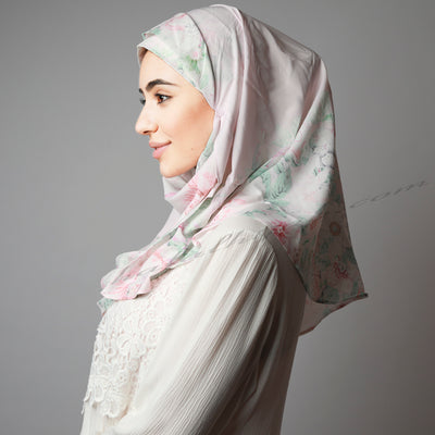 Light Matte Pink Green Floral Printed Luxurious Instant Hijab