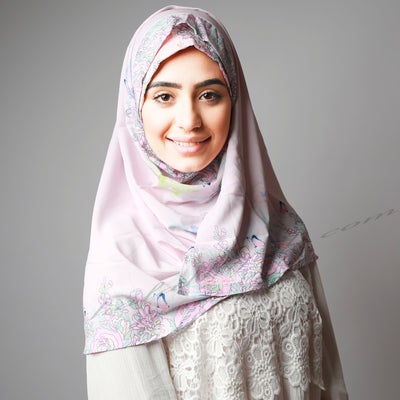 Light Sweet Pink Floral Border Print Two Piece Instant Hijab