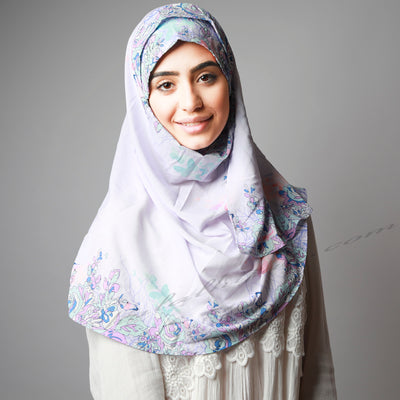 Light Sweet Violet Floral Border Print Two Piece Instant Hijab