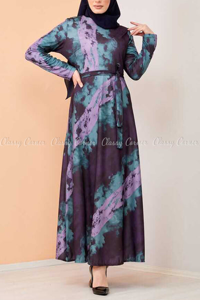 Lilac Tie-Dye Modest Long Dress - full front view