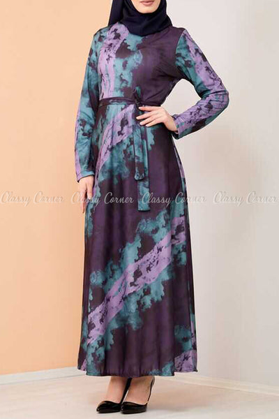 Lilac Tie-Dye Modest Long Dress - right side view