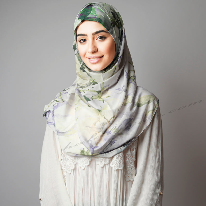 Matte Olive Green Purple Leafy Floral Print Instant Hijab