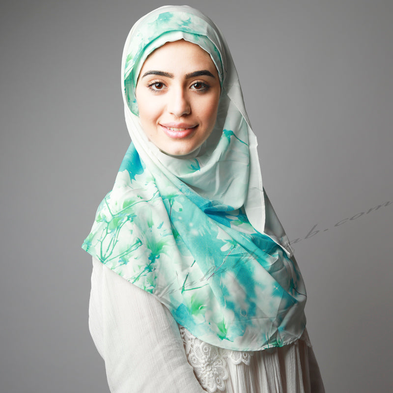 Matte Green Blue Cherry Blossom Printed Luxurious Instant Hijab