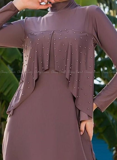Mauve Beaded Ruffle Chest Detailed