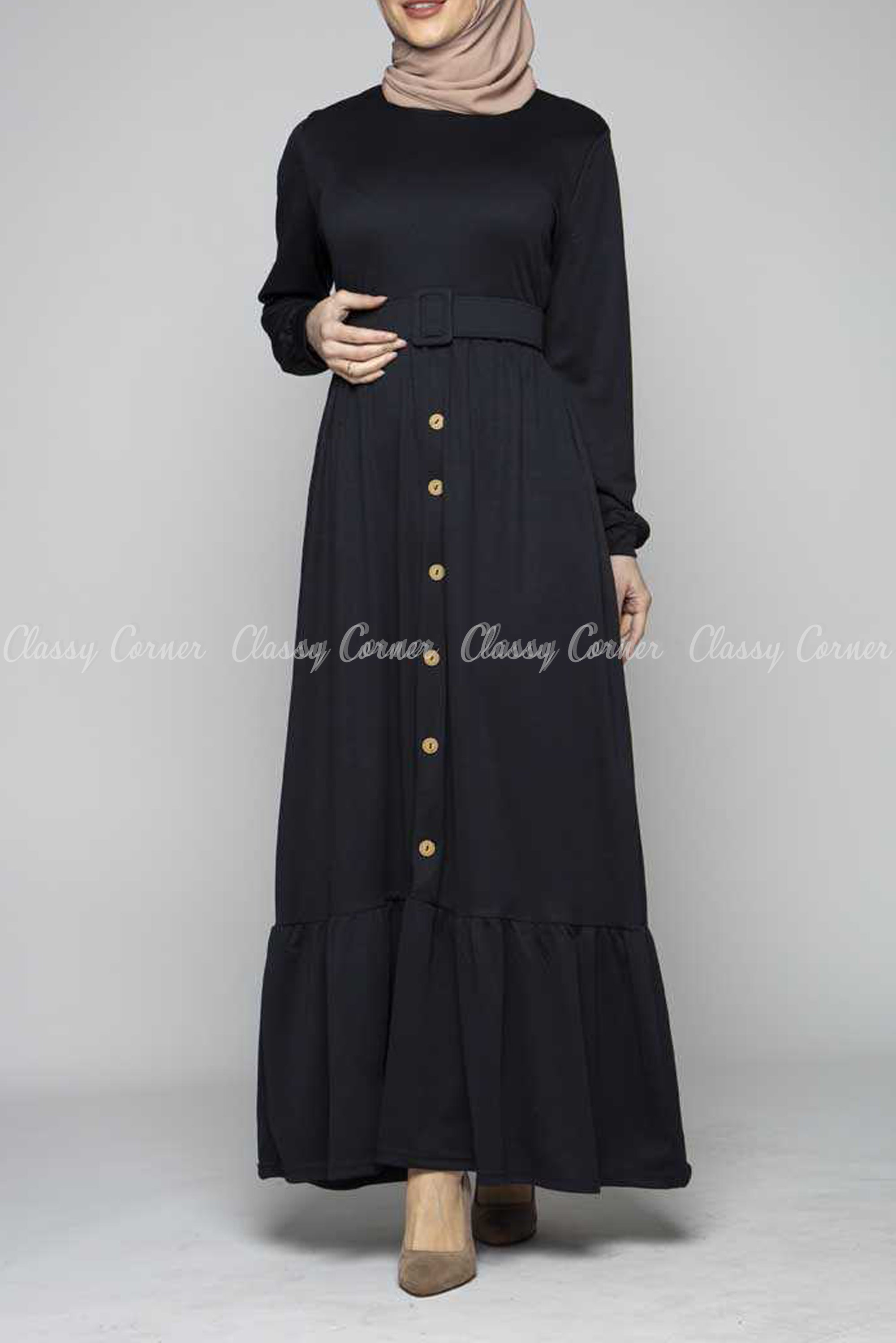 Minimalist Ruffled Bottom Skirt Black Modest Long Dress