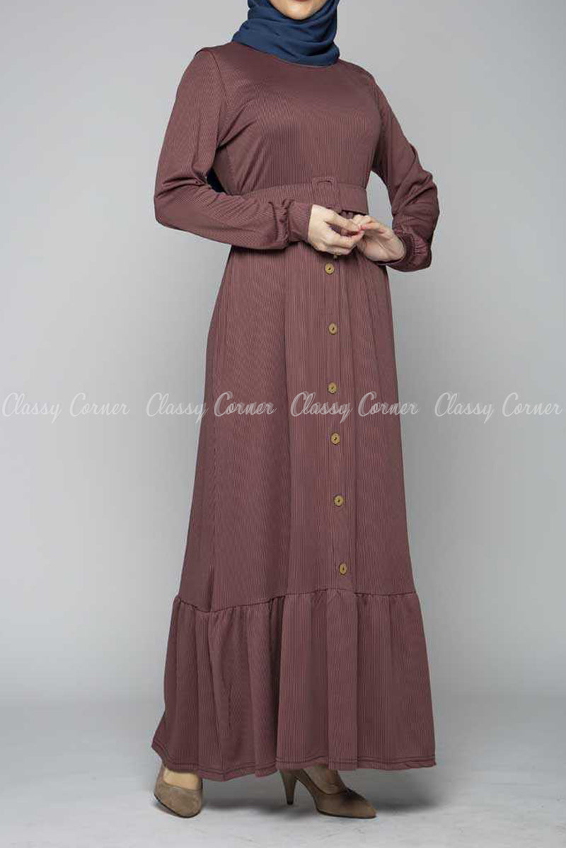 Minimalist Ruffled Bottom Skirt Mauve Modest Long Dress