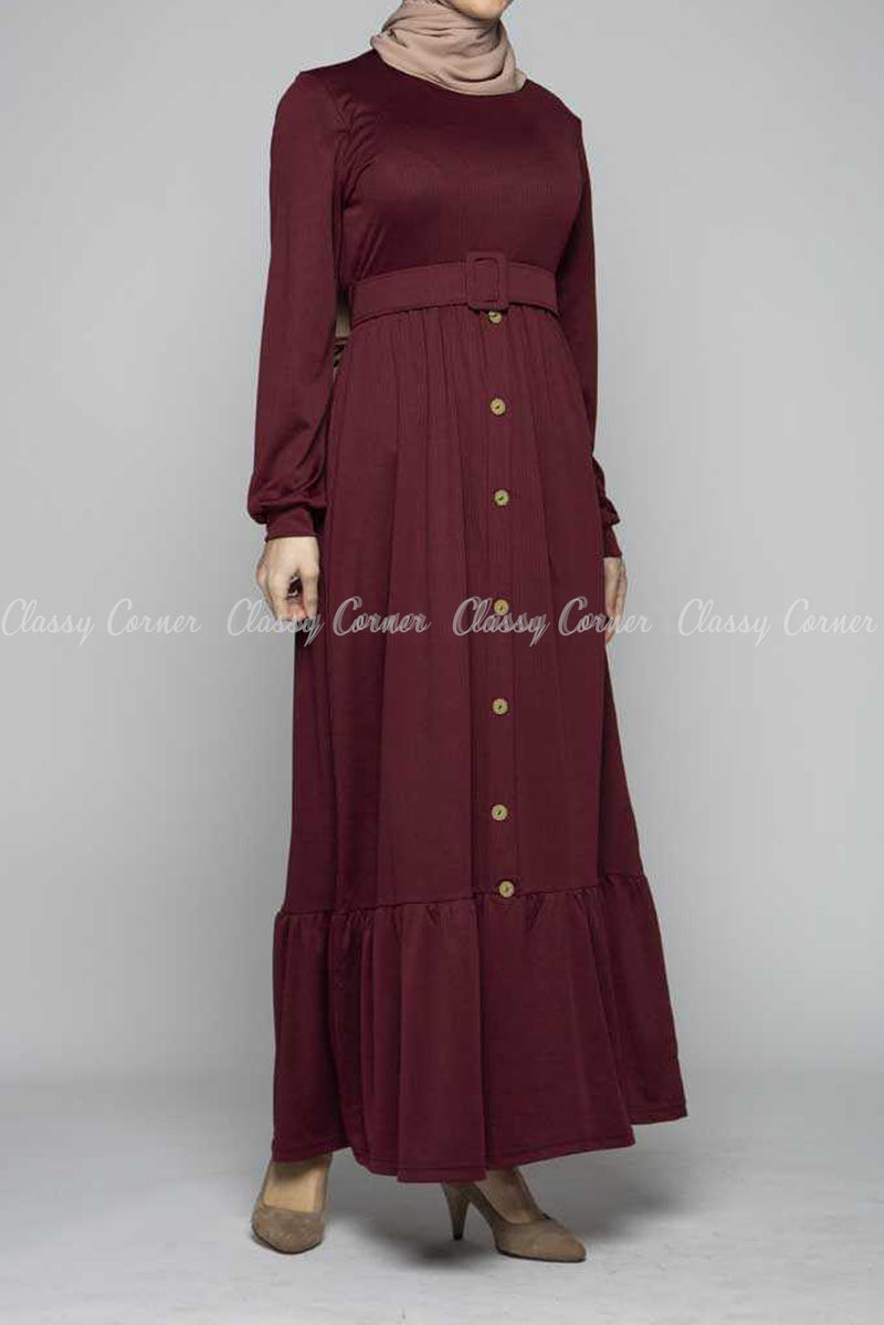 Minimalist Ruffled Bottom Skirt Maroon Modest Dress