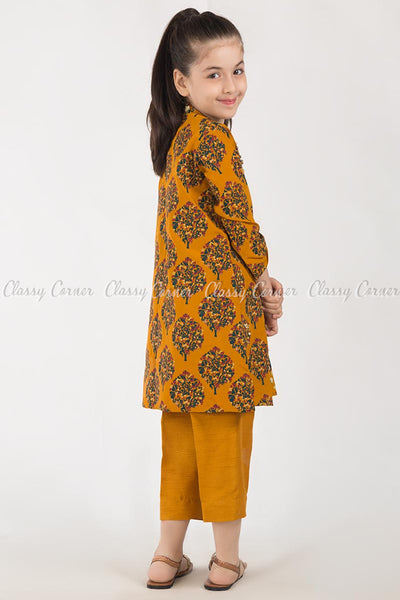 Modish Tree Print Orange Kids Salwar Kameez - back view