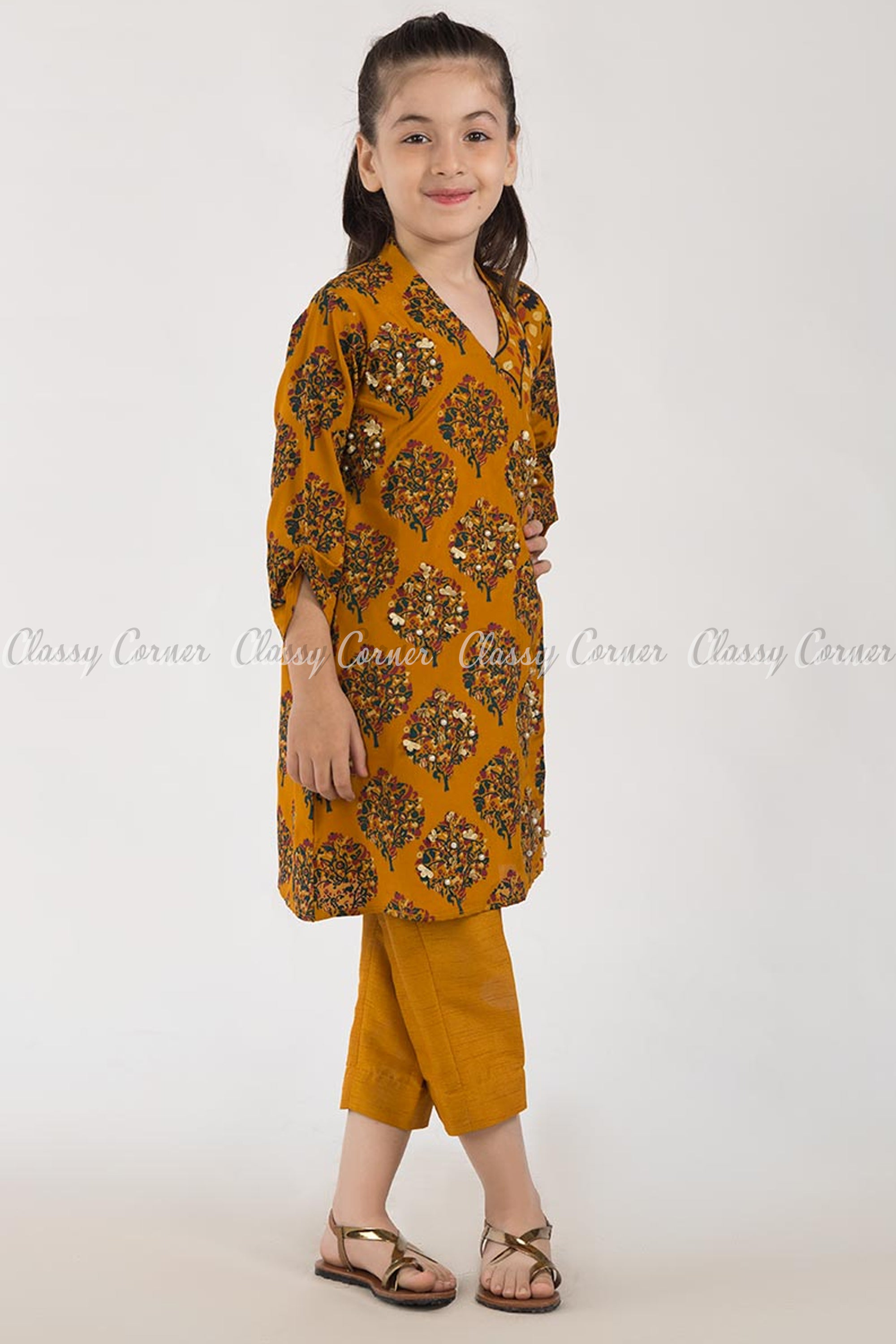 Modish Tree Print Orange Kids Salwar Kameez