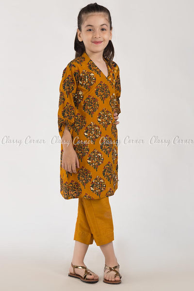 Modish Tree Print Orange Kids Salwar Kameez - full front view