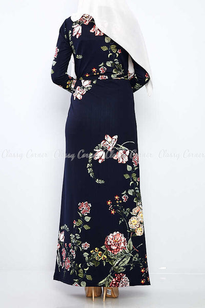 Multicolour Big Floral Print Navy Blue Modest Long Dress - Back View