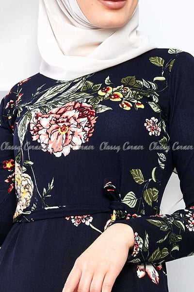 Multicolour Big Floral Print Navy Blue Modest Long Dress - closer details