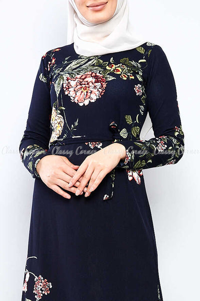 Multicolour Big Floral Print Navy Blue Modest Long Dress - closer view