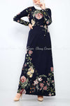 Multicolour Big Floral Print Navy Blue Modest Long Dress - front view