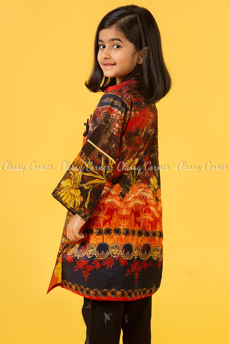 Multicolour Botanical Kids Salwar Kameez