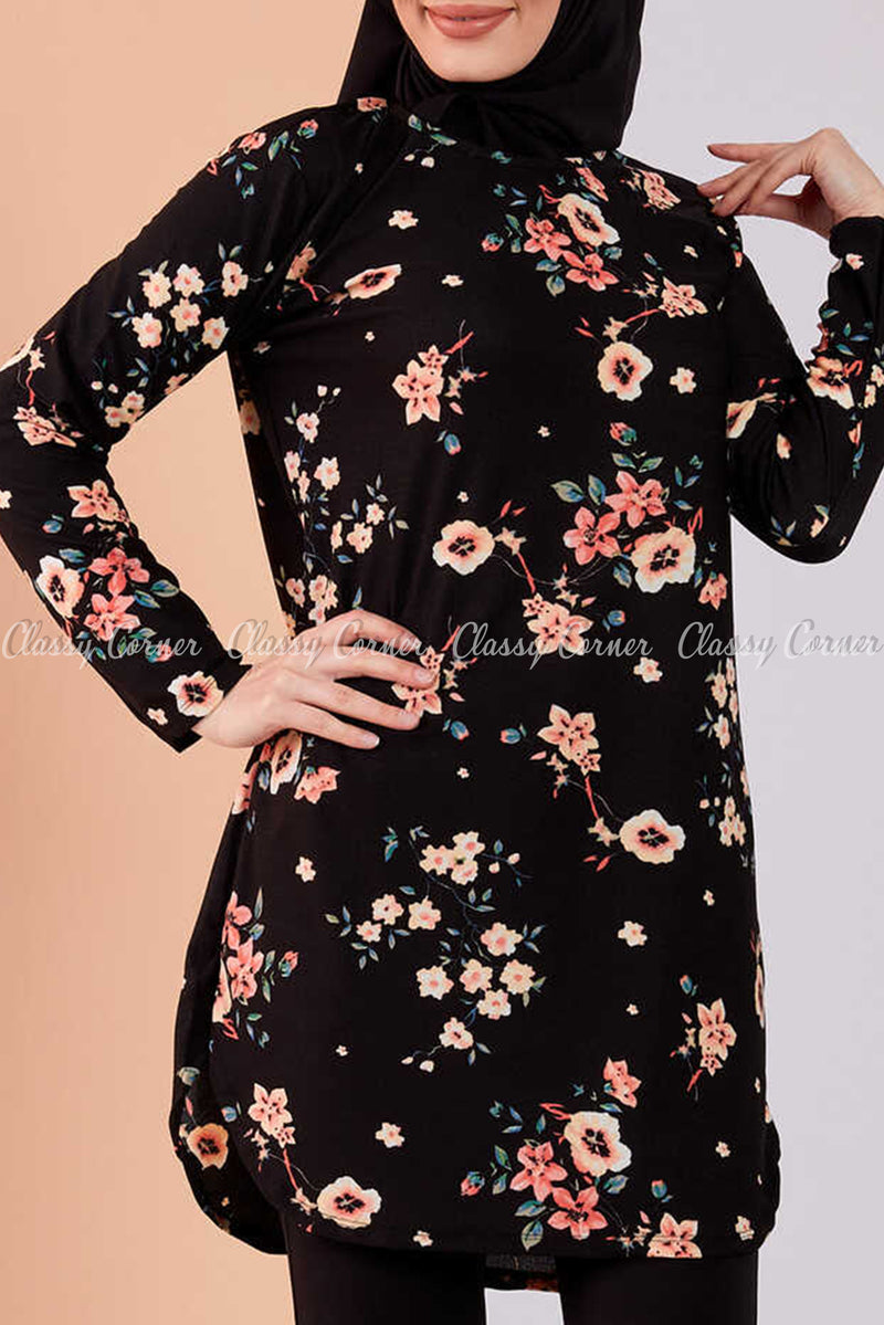 Multicolour Floral Print Black Modest Tunic Dress