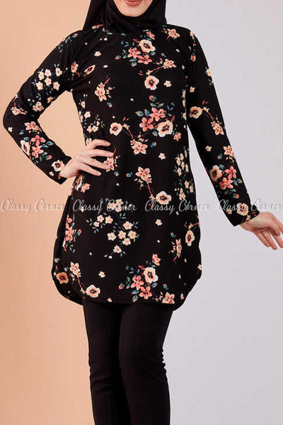 Multicolour Floral Print Black Modest Tunic Dress - full front view