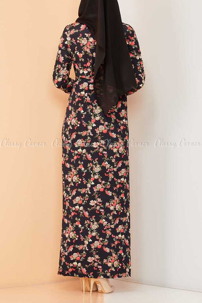 Multicolour Rose Print Black Modest Long Dress - back view