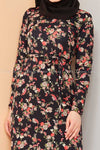Multicolour Rose Print Black Modest Long Dress - closer view