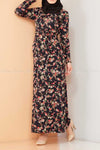 Multicolour Rose Print Black Modest Long Dress  -front