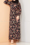 Multicolour Rose Print Black Modest Long Dress