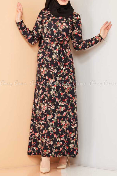 Multicolour Rose Print Black Modest Long Dress - front view