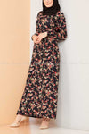 Multicolour Rose Print Black Modest Long Dress - side view