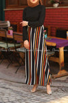Multicolour Stripe  Black Modest Long DressMulticolour Stripe  Black Modest Long Dress - front view