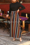 Multicolour Stripe  Black Modest Long Dress - full front view