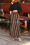 Multicolour Stripe  Black Modest Long DressMulticolour Stripe  Black Modest Long Dress - full side view