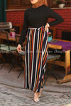 Multicolour Stripe  Black Modest Long Dress - right side view