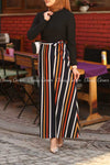 Multicolour Stripe  Black Modest Long Dress - side view