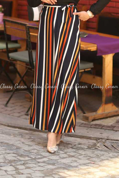 Multicolour Stripe  Black Modest Long Dress - skirt details