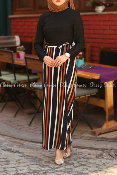 Multicolour Stripe  Black Modest Long Dress