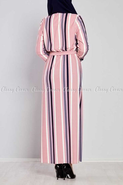Multicolour Stripe Prints Pink Modest Long  Dress - back view