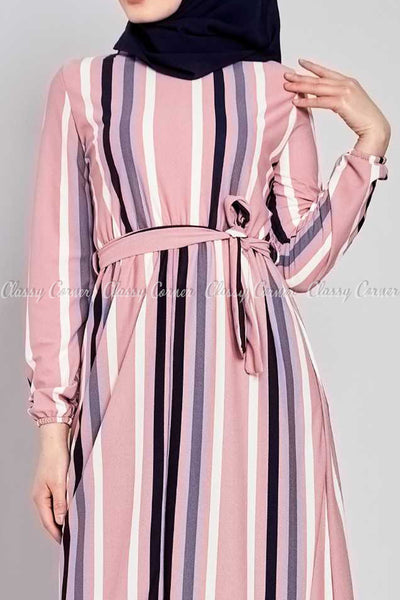 Multicolour Stripe Prints Pink Modest Long  Dress - closer view