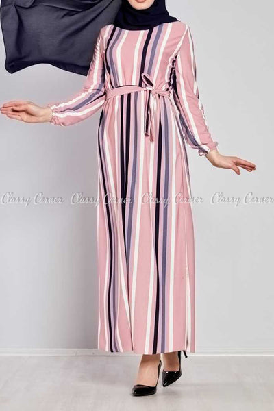 Multicolour Stripe Prints Pink Modest Long  Dress - front view