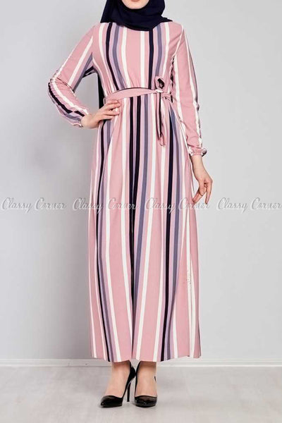 Multicolour Stripe Prints Pink Modest Long  Dress - full front view