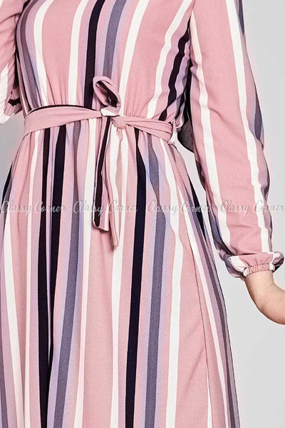 Multicolour Stripe Prints Pink Modest Long  Dress - prints details