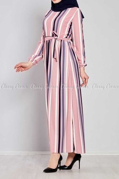 Multicolour Stripe Prints Pink Modest Long  Dress - right side view